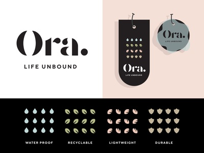 Ora Clothing line branding modern recycled clothing fashion sustainable icons print branding logo