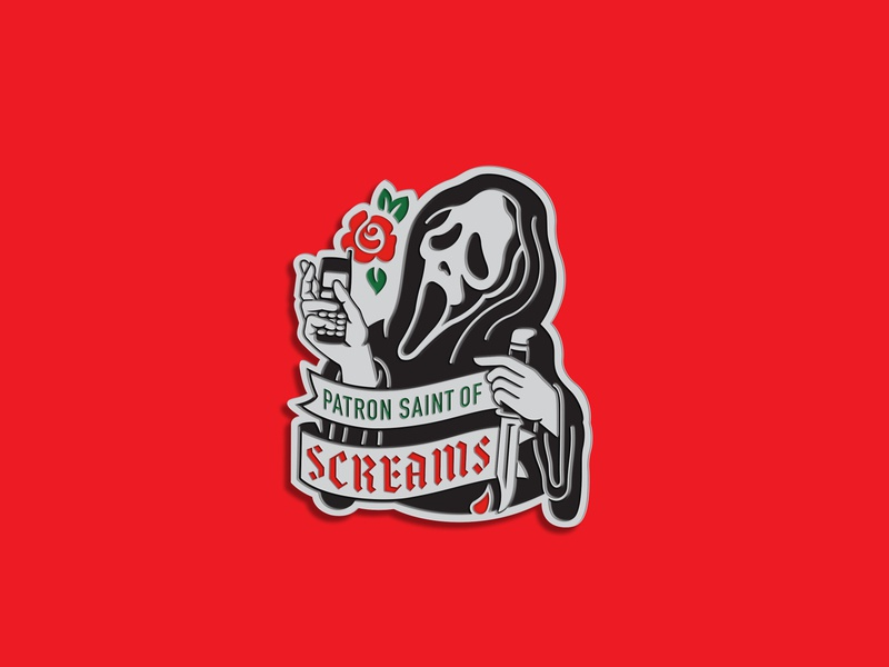 Saint Ghostface Enamel Pin product design scream lapel pin enamel pin print illustration slasher horror