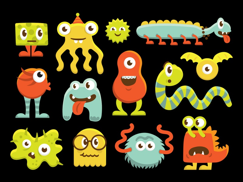 Spooky Monsters creatures ghost colorful ghouls character cartoon print kids children monsters illustration
