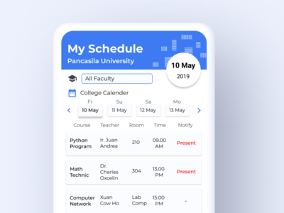 Lecture Schedule App web design illustration ux ui branding app