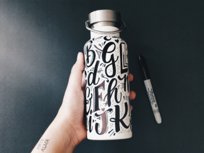 Alphabet water bottle typography type alphabet lettering
