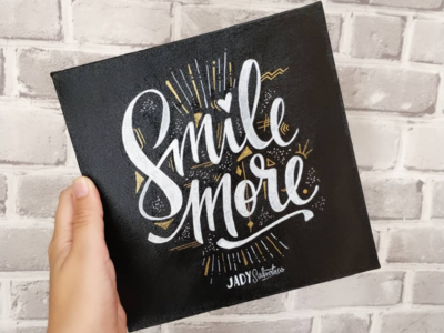 Smile More canvas lettering