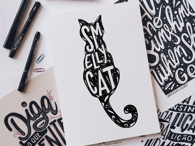 Smelly Cat typography silhouette cat phoebe serie lettering friends smellycat
