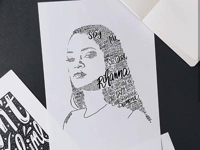 Rihanna poster music art typography portrait lettering rihanna