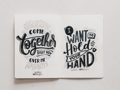 The Beatles handlettering handmade sketchbook lettering music beatles