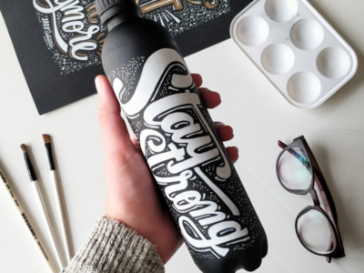 Water bottle handlettering lettering