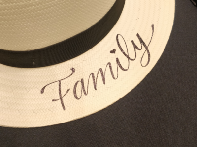 Family Hat type handmade hat family lettering