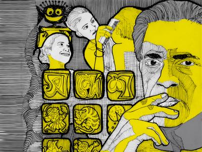 Satyajit ray satyajit ray quarantine minimal illustration flat design animation