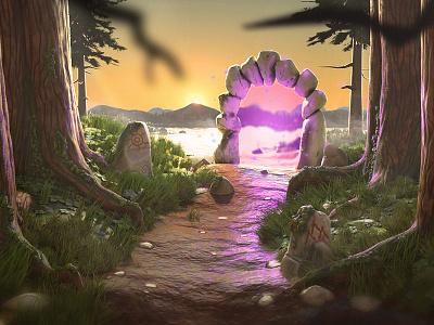The Portal 3D Environment design jungle blender 3dsmax illustration digital illustration 3d illustration c4d octane render illustration art motion graphics graphic design 3d ui animation