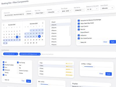 Filter Components UI multiselect filtering calendar checkbox menu dropdown components filters desktop app web