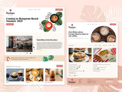 Flamingos Website desktop site cafe coffee bar coffee bar flamingos landing page web website