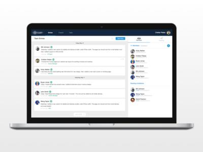 Team Log app desktop design entry post trending members invitations projects log entries team