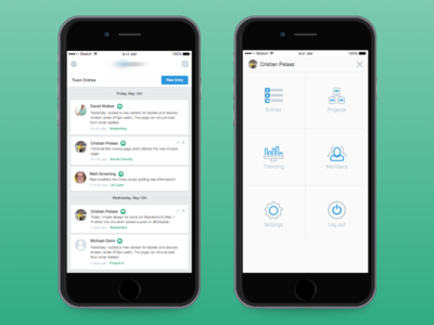 Mobile Menu V2 dropdown ios navigation mobile entries icons sidebar menu