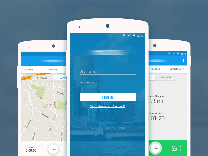 Miles Tracking App mobile sign in map login log in material android app tracker track
