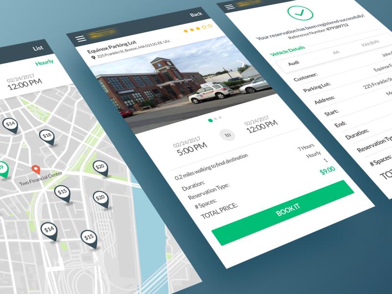 Parking App parking lot vehicle map reservation booking mobile app parking