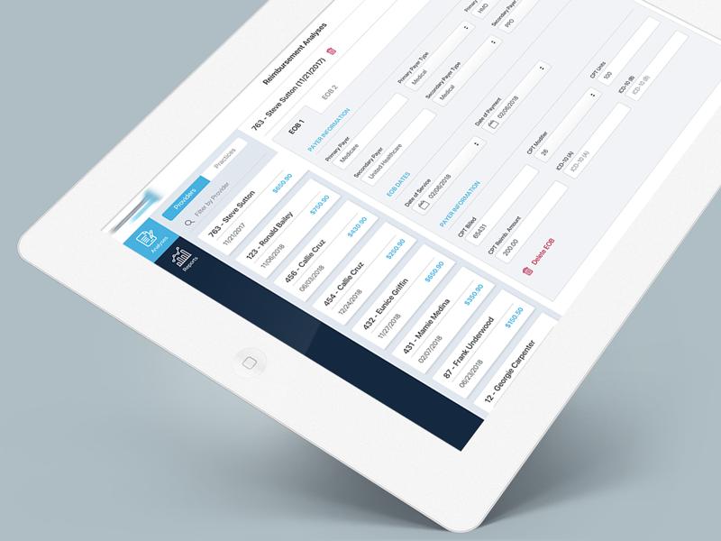 Reimbursement App report analyses tool healthcare medical reimbursement tablet mobile application ipad app