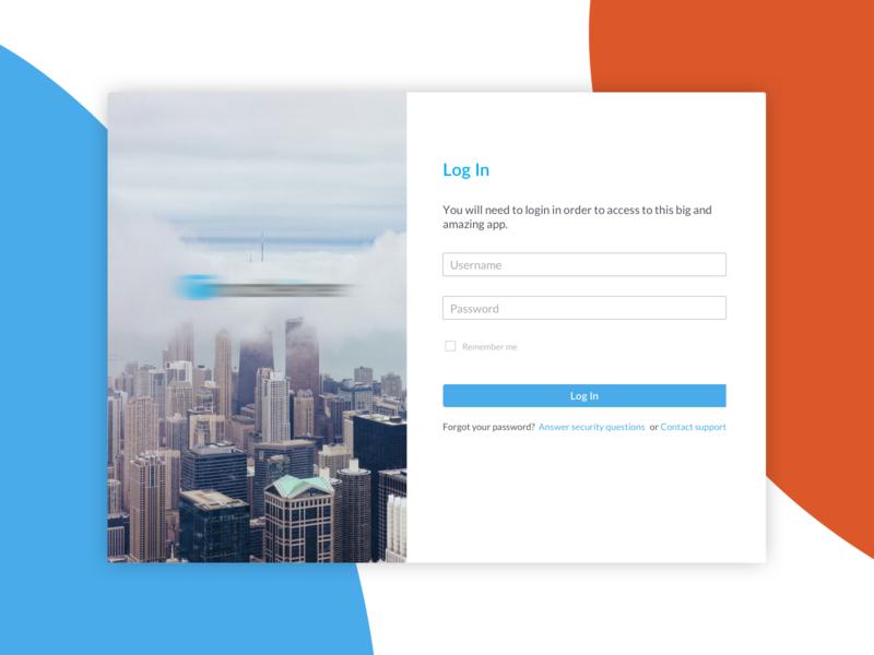 Web Login View login ui card design desktop app web