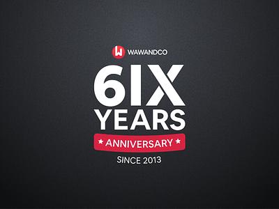 Wawandco 6th Anniversary software design commemoration t-shirt stamp company branding number 6 years anniversary