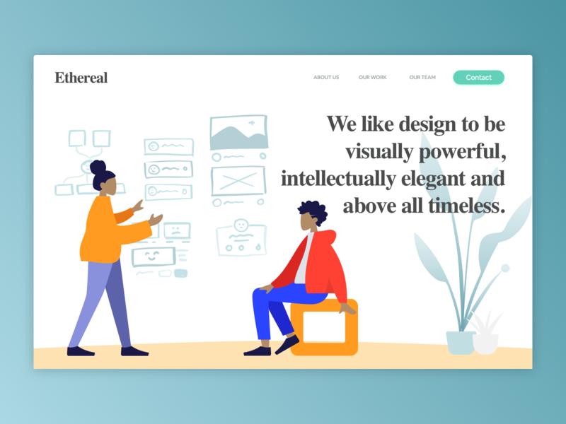 Ethereal Landing designer illustration ui design web