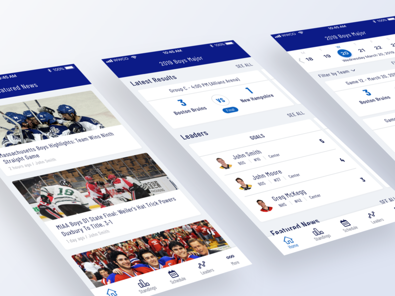 HNIB iOS App Design schedule sketch score boston tournament sport collaboration hockey card ios ui design app mobile