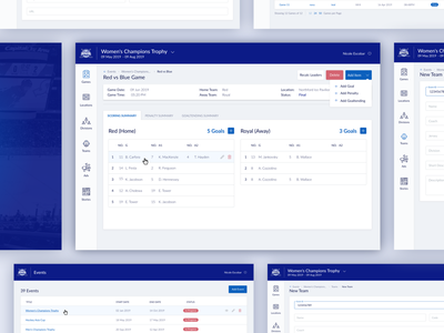HNIB Admin Portal dashboard hockey ui desktop design web app
