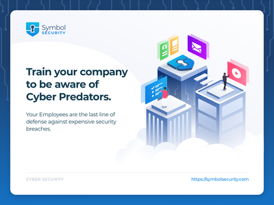 Symbol Security courses phishing platform web training illustration landing card security cybersecurity