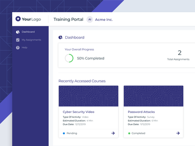 Training Portal Dashboard portal company cybersecurity progress assignment desktop learning courses training dashboard web app