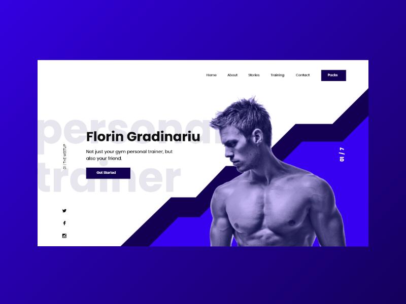 Fitness Website - Personal Trainer uidesign webdesign portfolio vector website web ux ui personaltrainer fitness process minimal flat design