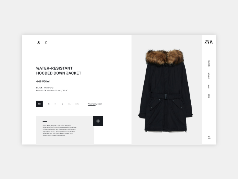 Fashion Product Page - Zara product page redesign uiux ecommerce interactivity flatdesign landingpage fashion zara webdesign design userinterface userexperience