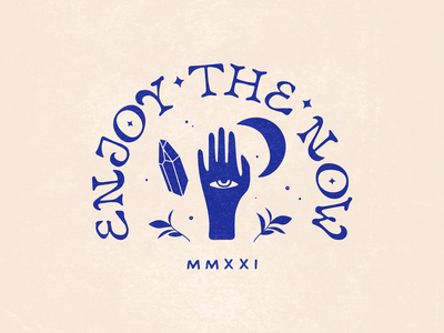 Enjoy the Now vector quote enjoy moon hand design illustration handtype handlettering letters lettering type typography