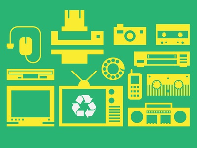Electronics Recycling icons recycling electronic mouse printer floppy tv tape phone camera video simple vhs retro player