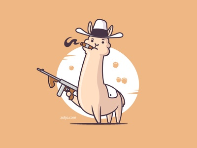 Alpaca Pone gangsta character funny tshirt mascot vector illustration cartoon animal gangster scarface al capone alpaca