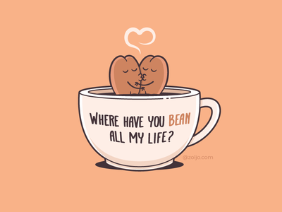 Coffee Lovers cartoon drawing character tshirt design illustration vector funny romance love cup bean coffee