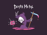 Death Metal metalhead headbang drawing design character tshirt vector cartoon illustration funny music grim reaper metal death