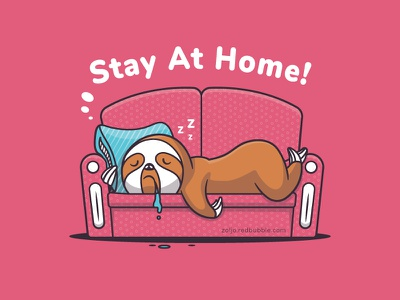 Stay At Home vector cartoon illustration stay at home stayhome sleeping sloth lazy