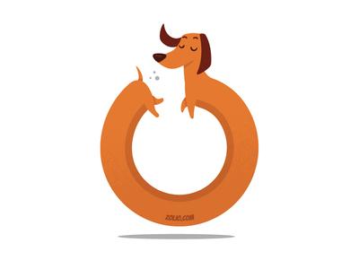 Ouroozos, self sniffing Dachshund dog wiener dach tshirt mascot cartoon vector funny illustration funny dachshund