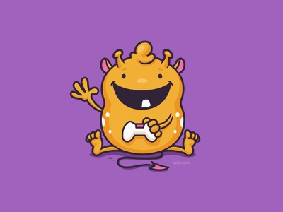 Baby Monster Gamer monster cute funny drawing character mascot cartoon vector illustration baby gamer