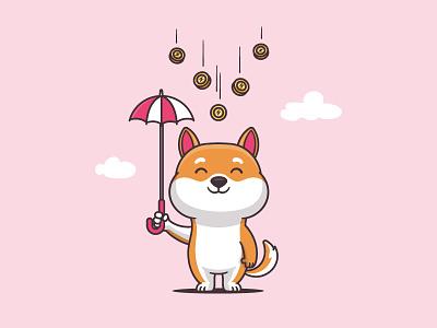 Let It Rain puppy kawaii funny cartoon vector illustration character mascot dog doge coin dogecoin shiba inu