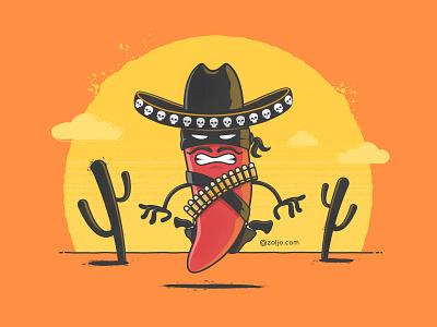 Chili Bandito angry wild west desert tshirt illustration vector desperado bandito hot pepper chili