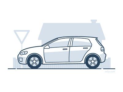 Car Insurance Illustration vector car illustration monoline mono line line art