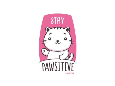 Stay Pawsitive vector cartoon merchandise clothing tshirt illustration kawaii cat