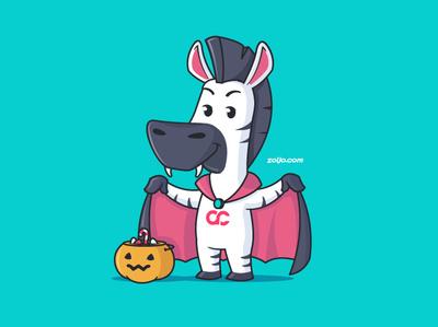 Happy Halloween illustration cartoon vampire dracula halloween mascot design mascot zebra