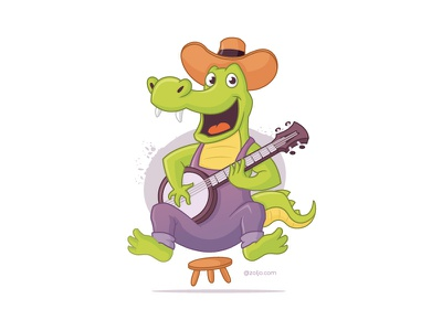 Bluegrass Alligator gator alligator animals player banjo vector illustration cartoon music bluegrass redneck crocodile