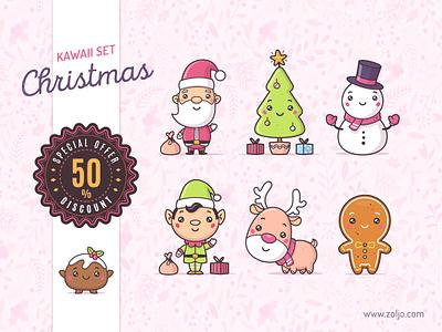 Christmas kawaii set mascot design cartoon illustration stock illustration holidays gingerbread man reindeer snowman santa claus christmas vector illustration stock vector