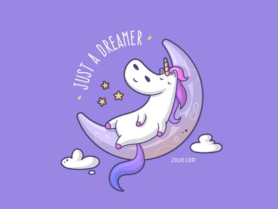 Just a Dreamer cartoon sleeping moon cute funny vector illustration mugs dreamer illustration t-shirt unicorn