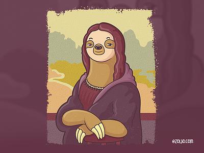 Lazy Lisa animals drawing tshirt cartoon vector illustration t-shirt sloth mona lisa