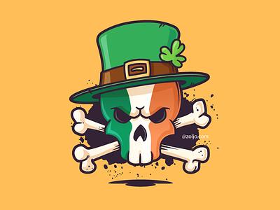 Leprechaun Skull drawing illustration vector saint patricks day st patricks day skull and bones ireland irish skull leprechaun