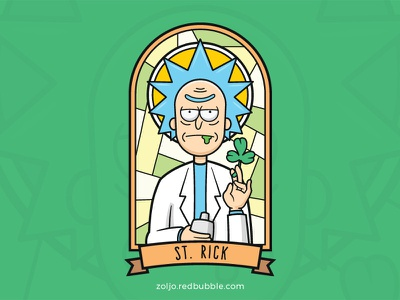 Saint Rick vector funny cartoon illustration rick sanchez rick and morty