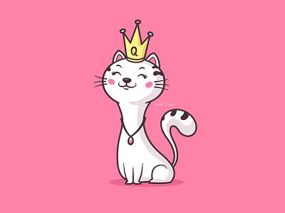 Cat Queen beautiful cute pet illustration cartoon vector royal queen kitten kitty cat
