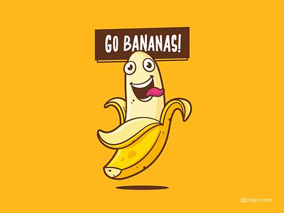 Go Bananas! character cartoon funny vector illustration banana